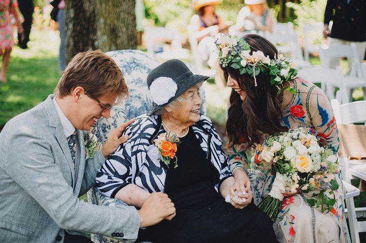 A sweet moment with the Bride's Grandmother
