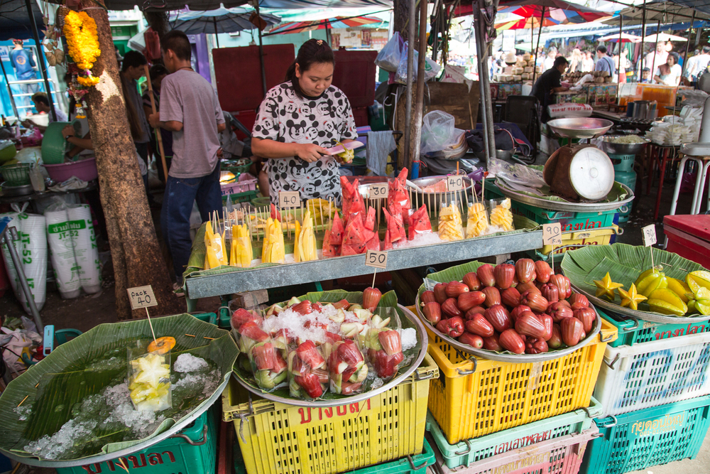 Many exotic, tropical fruits are sold in abundance throughout Thailand.