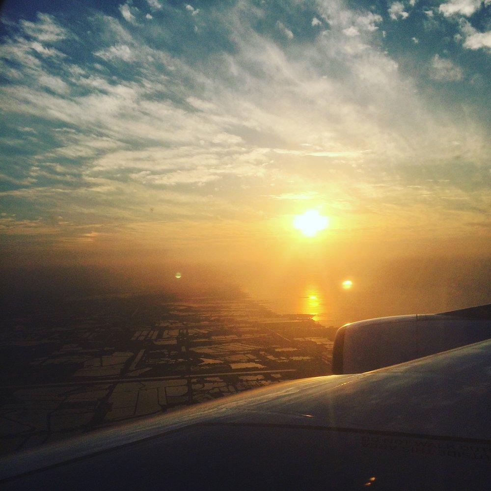 The sunrise arriving into Bangkok.
