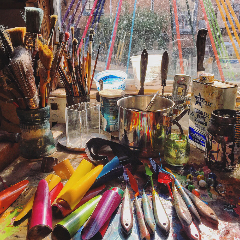 Artist's supplies at Fisterra Studio
