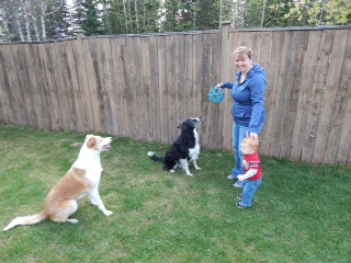 Kelly with her son and two dogs.