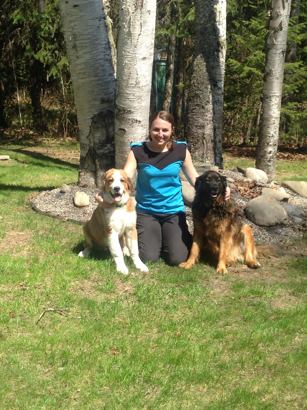 Dr. Fuller and her dogs George and Charlie