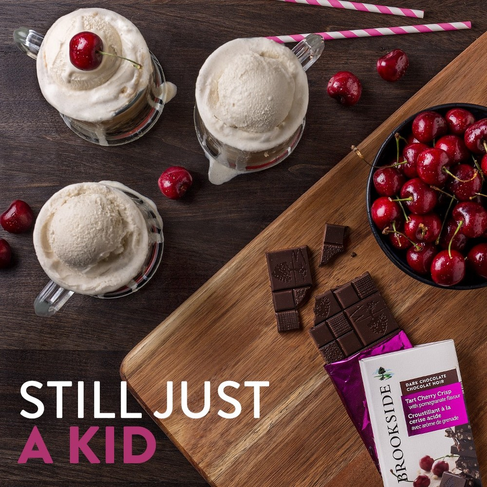 Tart Cherry Crisp with Pomegranate Brookside Bar Recreate those childhood memories with a root beer float and a bar of Brookside Tart Cherry Crisp. Don't forget to put a cherry on top!