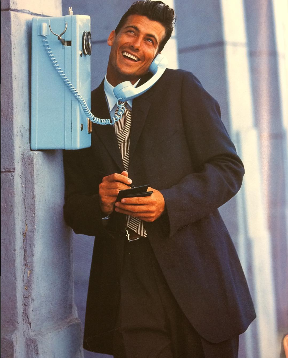 Throwback Thursday #TBT Still love the 1990 @hugoboss suit. Not sure about the powder blue rotary phone though. (What were we thinking?)