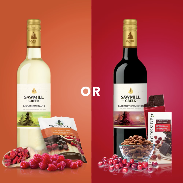 Sawmill Creek Cabernet Sauvignon + Cranberry Almond Brookside Bar   Choices, choices, choices. We all know chocolate, fruit, and wine are a match made in heaven but which pairing would you choose?