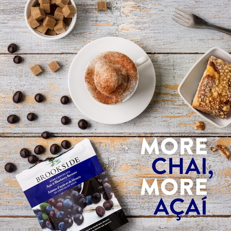 Açaí and Blueberry Brookside Pouch   Everyone say this five times fast. Soy chai and Brookside açaí. Soy chai and Brookside açaí. Soy chai and Brookside açaí. This combo's tough to say but really easy to enjoy.