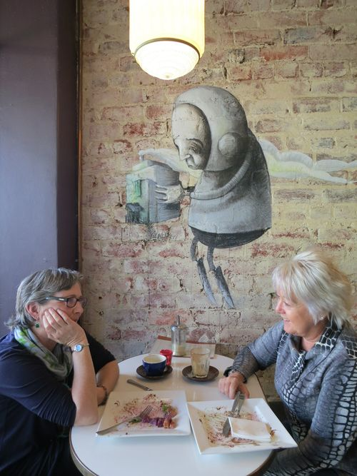Great artists use the locationas a part of their artwork. That brings more content into the piece, giving more value to the art and more value to the place as well. (Artwork by Stormie Mills at Boubar , 31 Hampden Road, Nedlands.)