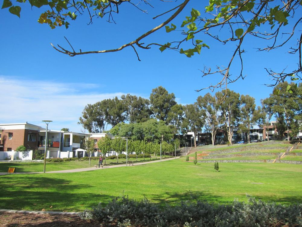 The old Hollywood Senior High School site. Part of the oval is retained and the balance has a diversity of a building styles and, importantly, completed landscaping.