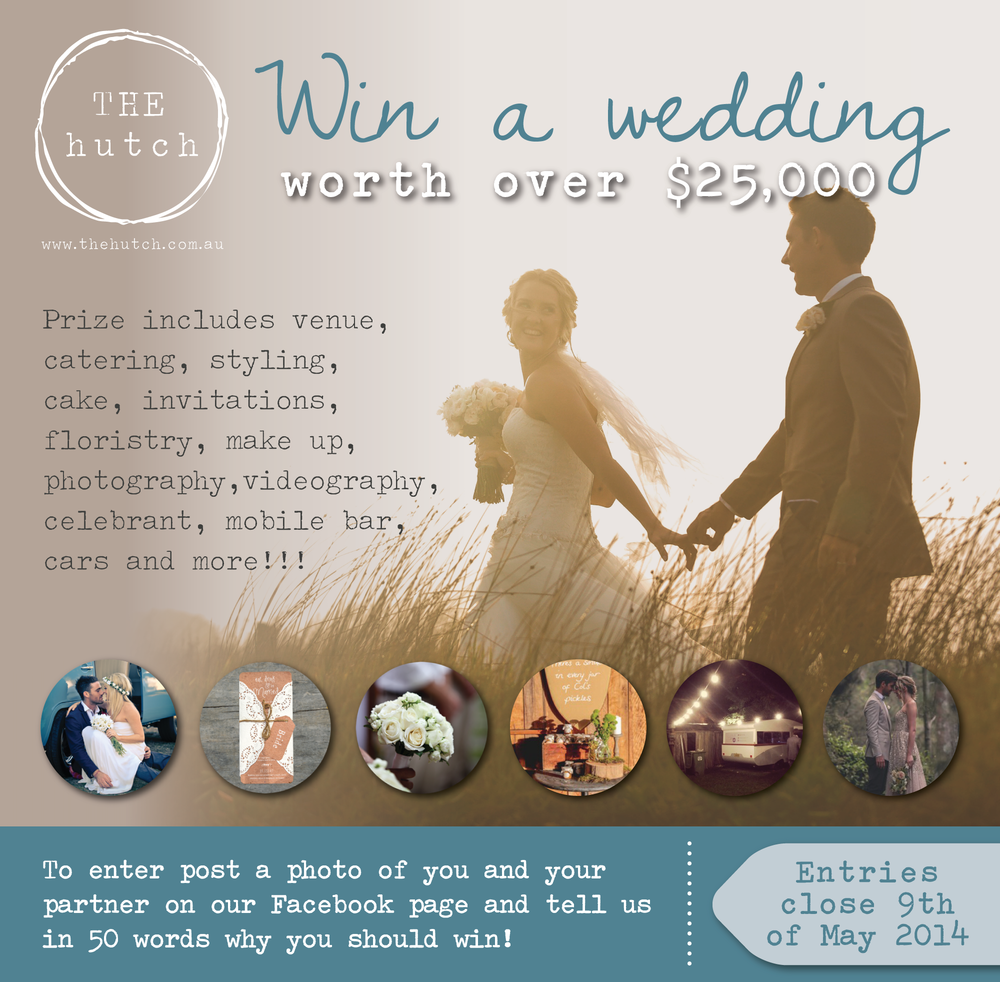 Win a wedding the hutch wedding events hint hint gentlemen available to be married in sydneys northern beaches on saturday 9th of august 2014 then enter our win a wedding competition junglespirit Choice Image