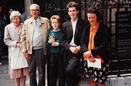 Doreen and Reg Yearley, Matthew and Jon Cole, Elise Liversage outside the National Portrait Gallery