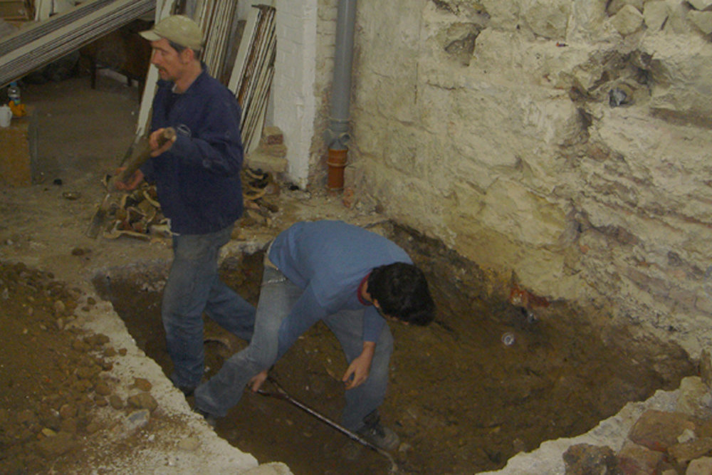 Jon and Tim Cole digging in the basement for the lift shaft - Photograph  Tim Corrigan