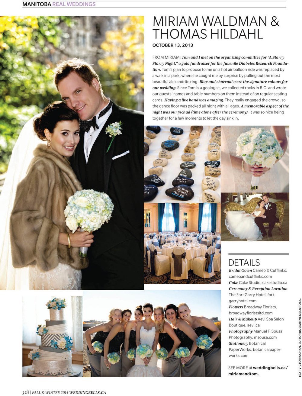 These are the images and story that they chose from Miriam and Tom's wedding here in Winnipeg.