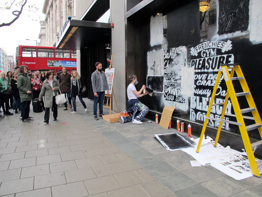 Urban Outfitters Oxford Street London window mural 2011