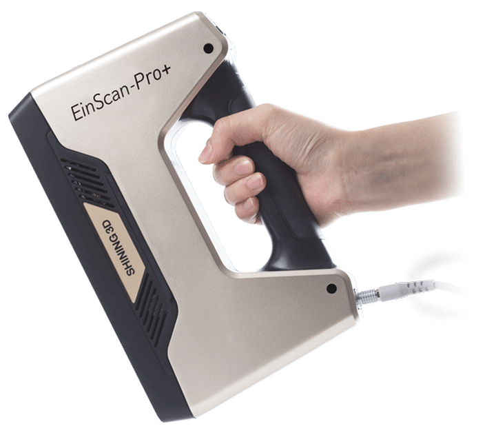 Einscan-Pro+ - Our 3D Scanner is the Einscan Pro+ it is lightweight and handheld thus allowing us to scan large objects ranging from objects such as entire vehicles to people, additionally it allows us to conduct high definition scans with smaller items that have more intricate details, these are usually scanned on a turntable to ensure higher levels of accuracy.