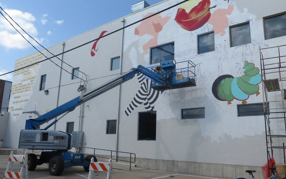 Mural Work-in-progress ,Image: Sally Y. Hart and kciiradio.com, Monday, September 7th, 2015.