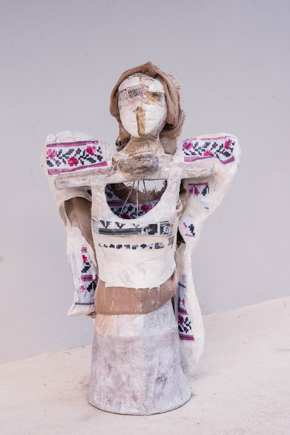 Cageless  1.0 x 0.5 meters, 2018 Paper mache, plaster of paris, styrofoam, cardboard, acrylic paint, paper, duct tape, wires, fabric, spray paint