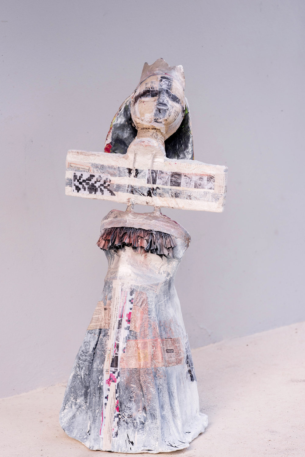 Passion  1.0 x 0.5 meters, 2018 Paper mache, plaster of paris, styrofoam, cardboard, acrylic paint, paper, duct tape, wires, fabric, spray paint, and feathers