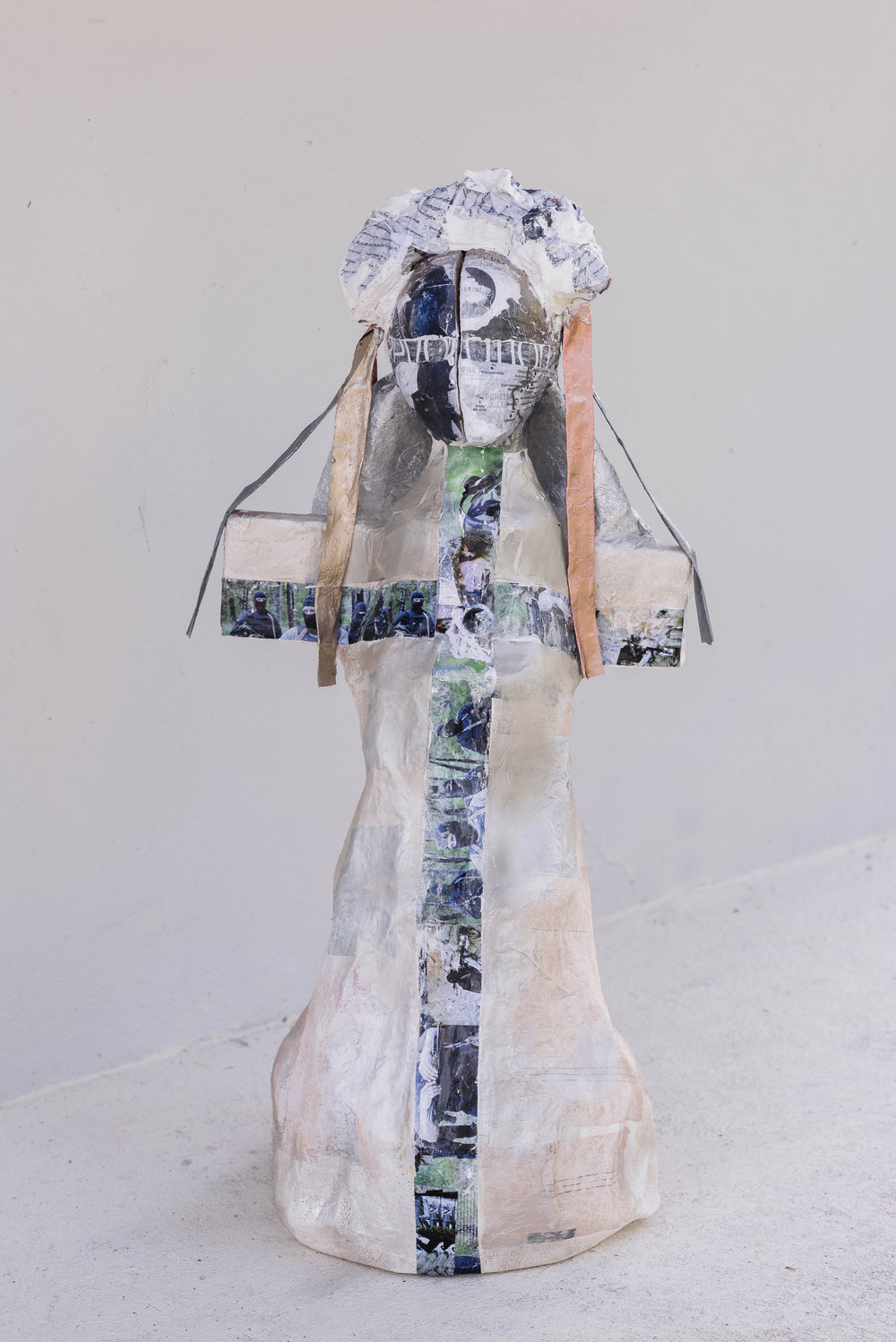 Sacrifice  1.0 x 0.5 meters, 2018 Paper mache, plaster of paris, styrofoam, cardboard, acrylic paint, paper, duct tape, wires, fabric, spray paint