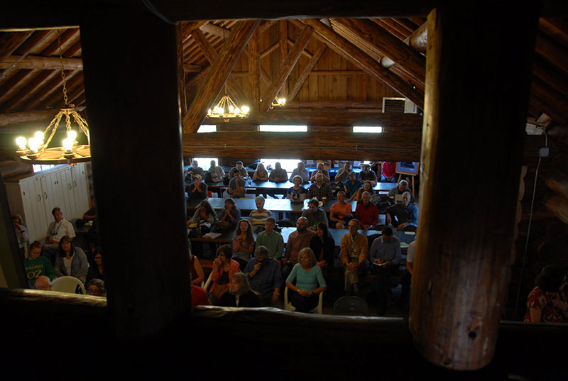 Second aerial of portion of Camp Paxson Festival Crowd
