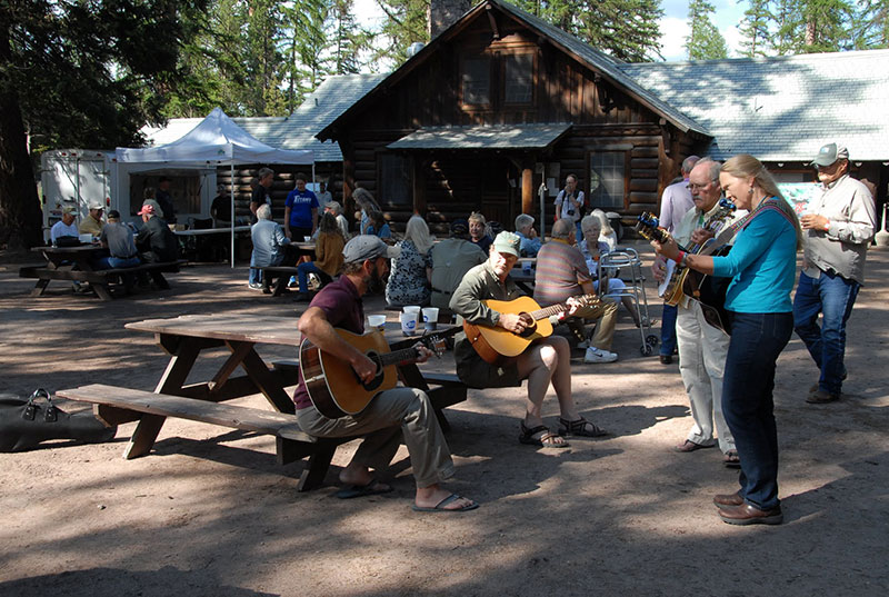 Musicians Trace Stone, Mark Williams, Pete and Rachel Fiegley perform at Sunday Maclean Festival at Camp Paxson