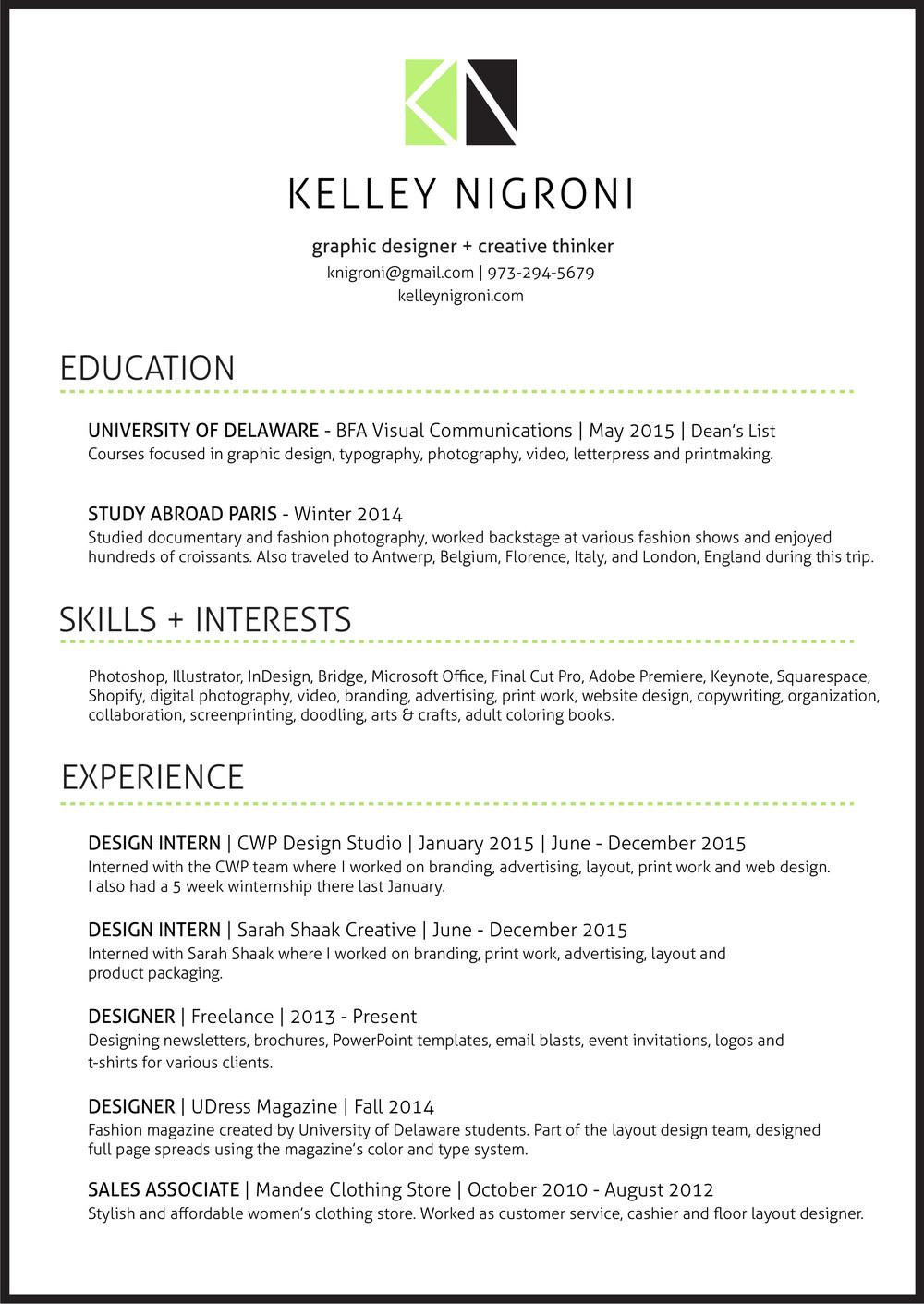 Résumé — Kelley Nigroni