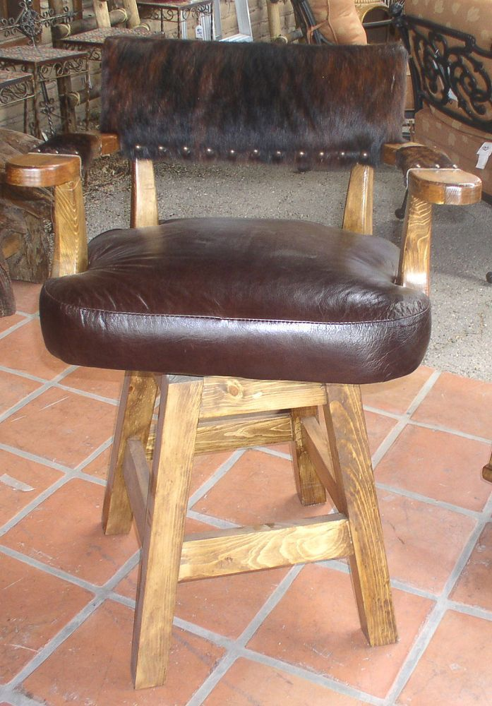 Lovely #5257 BARSTOOL KING RANCH COWHIDE AND LEATHER