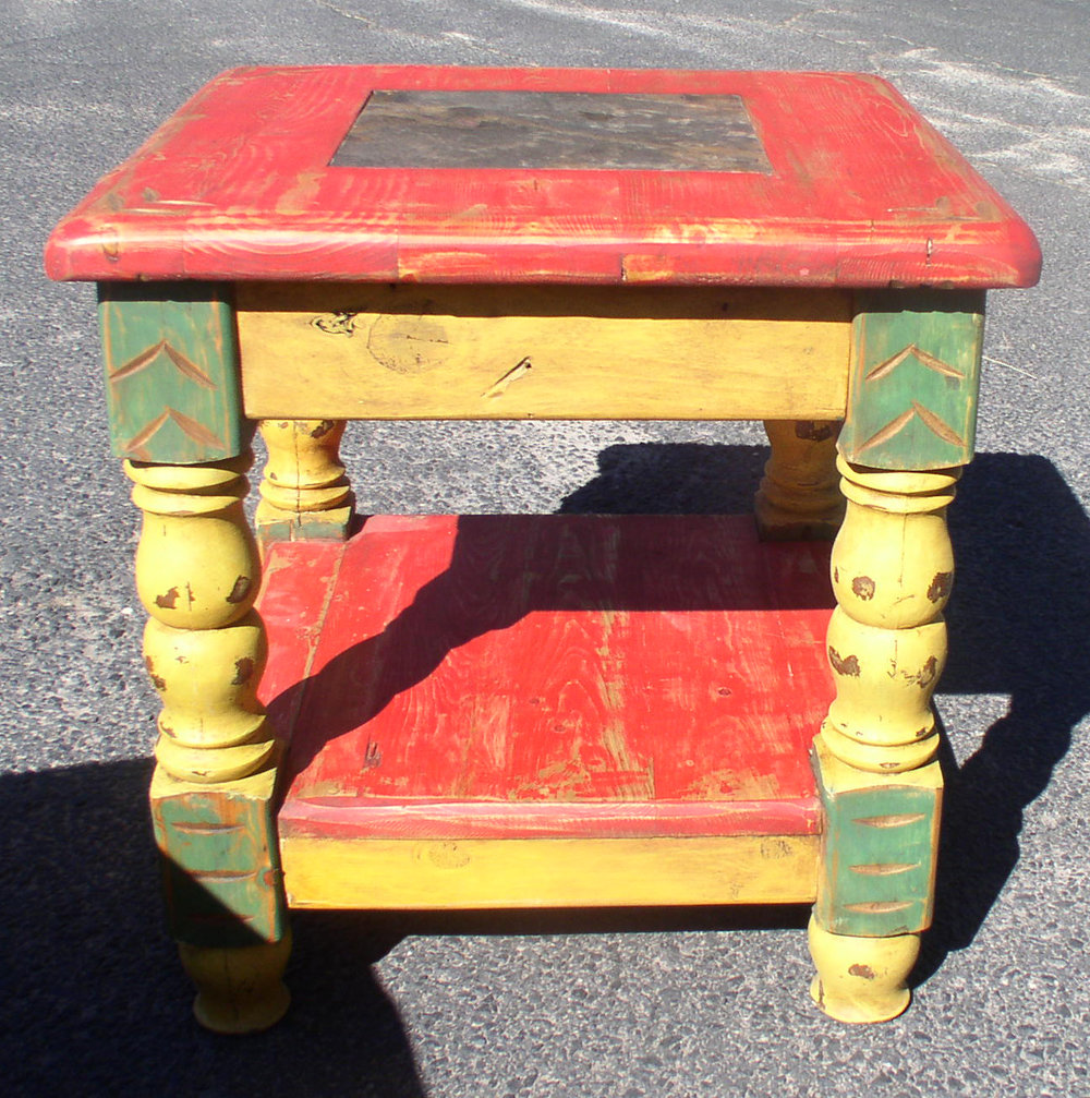 #4866 END TABLE TURNLEG COLOR SLATE ON TOP 179. - Copy - Copy - Copy.JPG