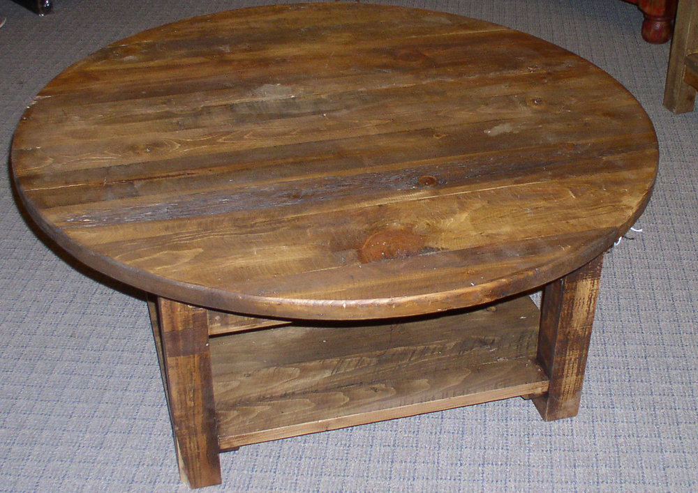 #3441 COFFEE TABLE 42'' ROUND DRWR & SHELF OLD CABIN 309..JPG