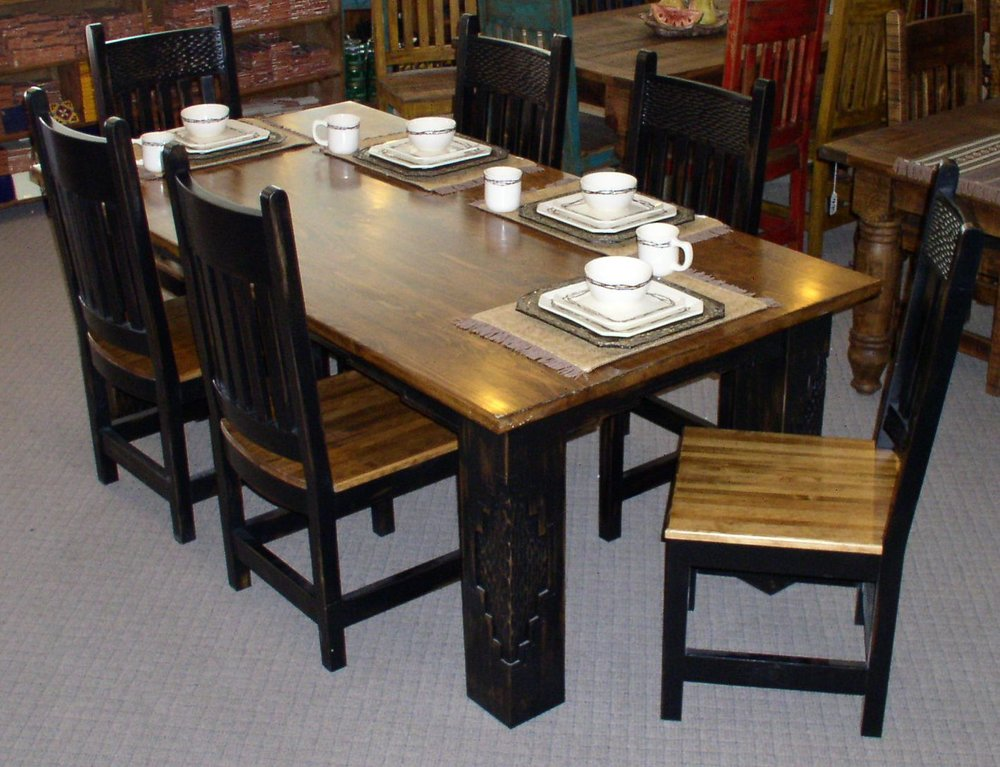 #4534 MESCELERO DINING TABLE 84X42X30 DARK WALNUT HINE FINISH