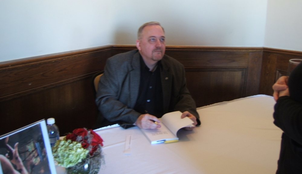 At the book signing for the release of The Mind Set on the Flesh