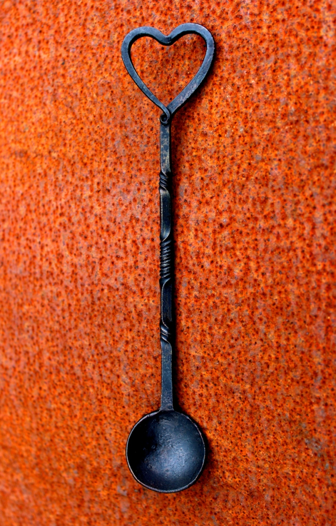 Forged iron single love spoon by Mike Davies, approx. 180mm long, from a selection of unique designs 180mm-210mm long, £39 each. Double love spoons £69 each. Gift-wrapped, with artist information. Special Delivery p&p £10 to UK mainland.