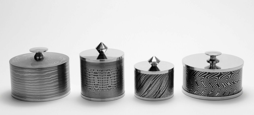 Lidded trinket boxes by Mick Maxen