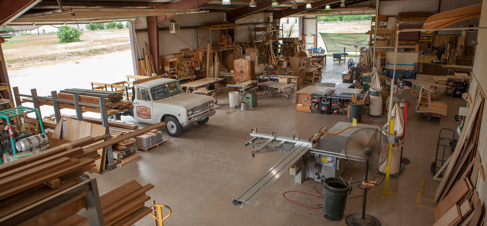Looking southwest inside the RCF Inc. shop.