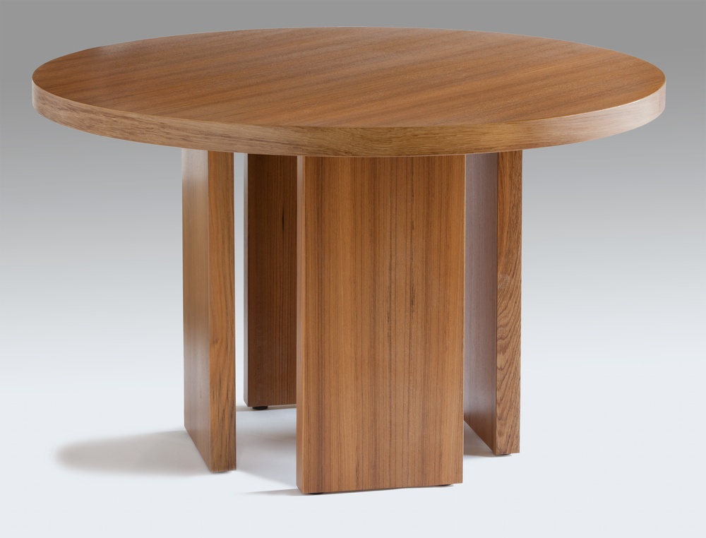 "Circular game table made from teak.  Dimensions: 48"" diameter top, 29"" high  Design by Reznikoff Custom Furniture"