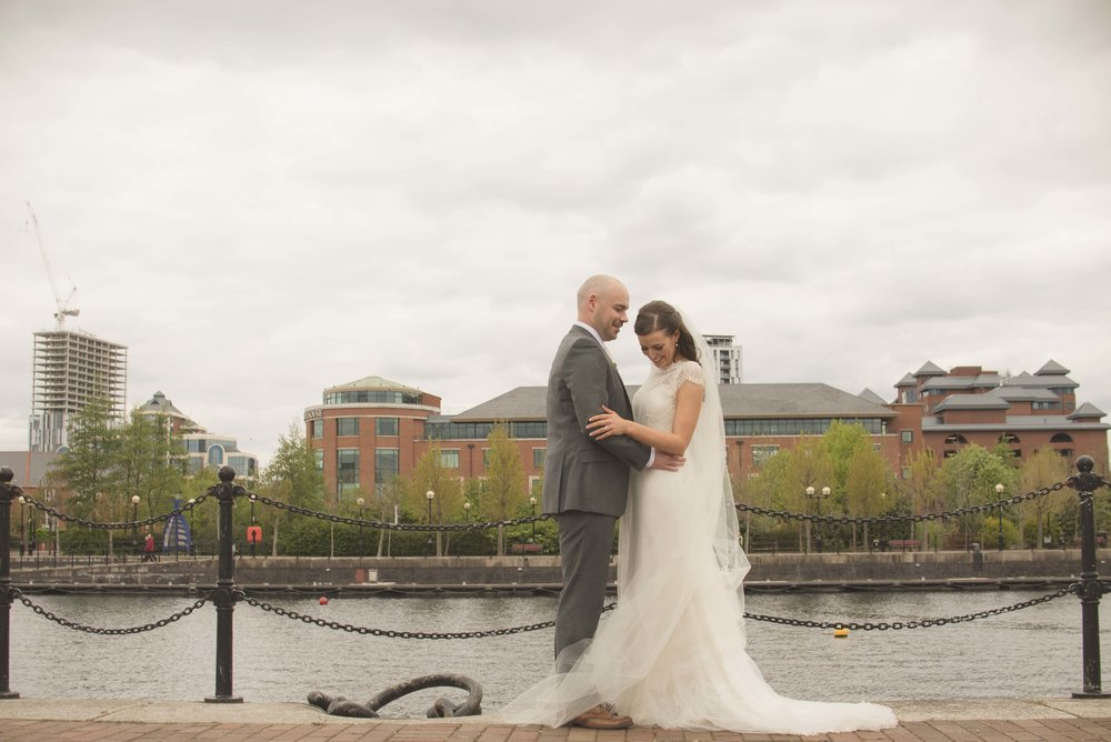 Bride and groom at Salford Quays