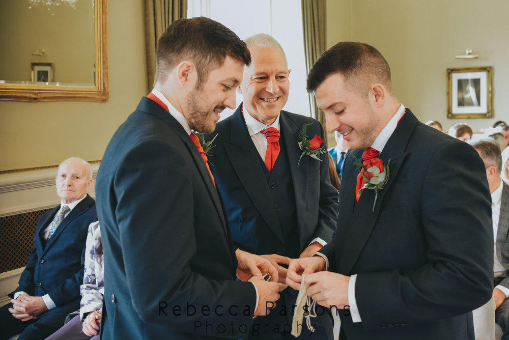 groom with dad and brother before service