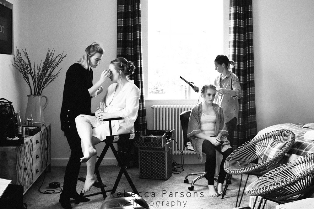 bridal hair and make up black and white