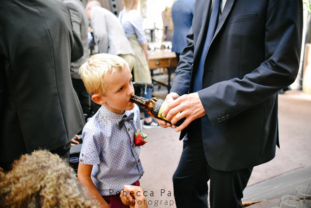 little boy trying beer