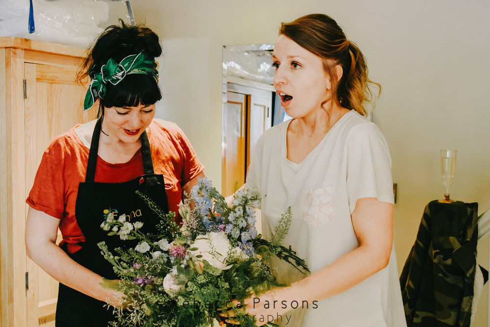 bride talking to florist