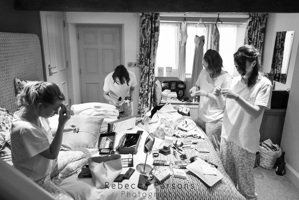 bridal party getting ready black and white