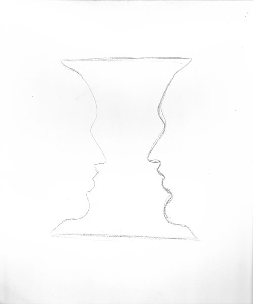 Whenever I see the face/vase illusion, I usually hear them arguing:'I'm a face!' 'No, we're a vase.' 'You can be a vase if you want to, but I'm totally a face.' '