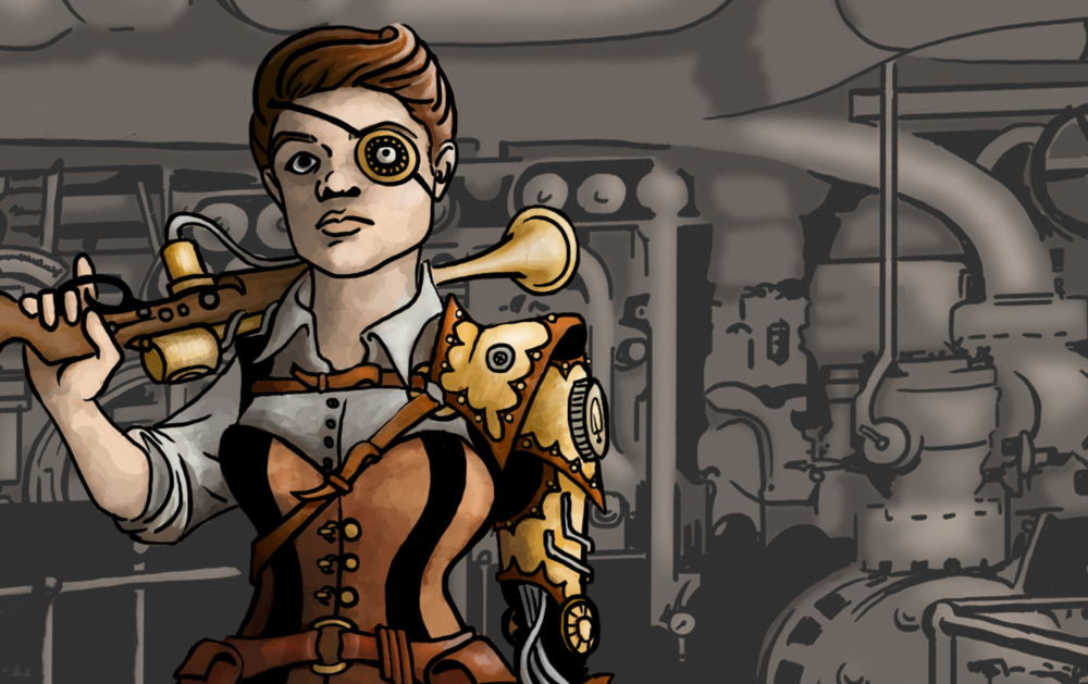 Steampunk Mechanic: Digital Illustration