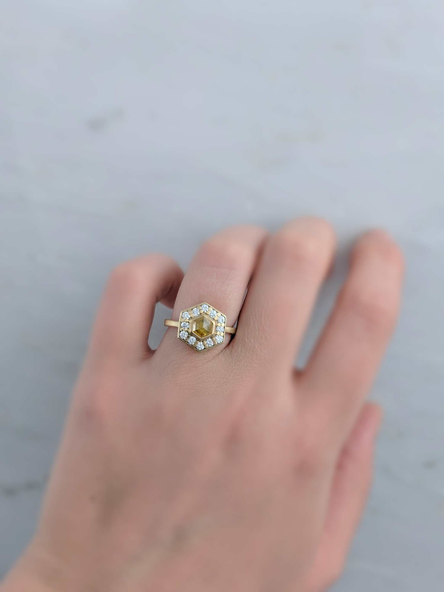 Yellow Hexagon Diamond Halo Ring in 14K Yellow Gold — D O O Z I E