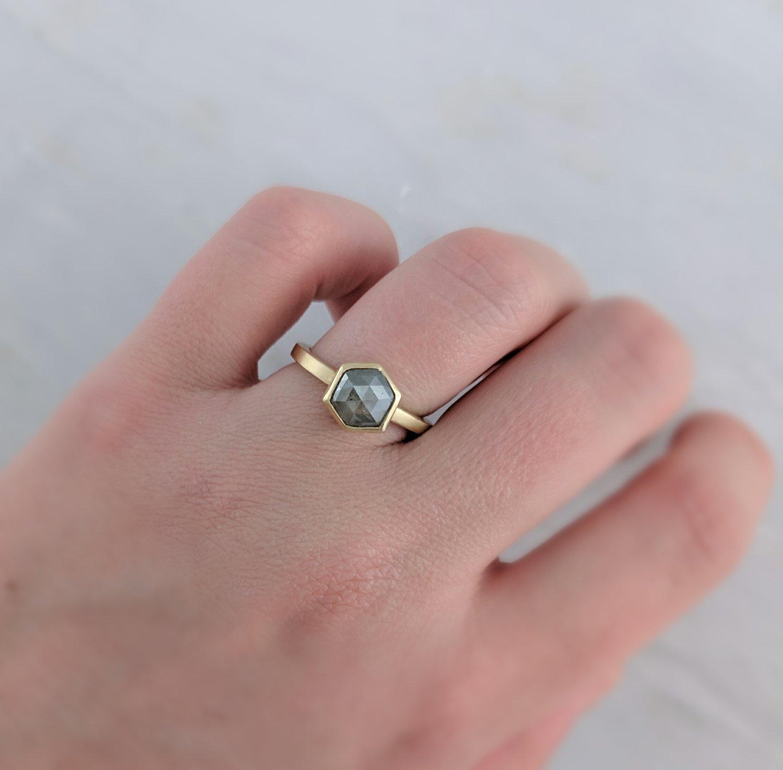 Grey Hexagon Diamond Ring in 14K Yellow Gold — D O O Z I E