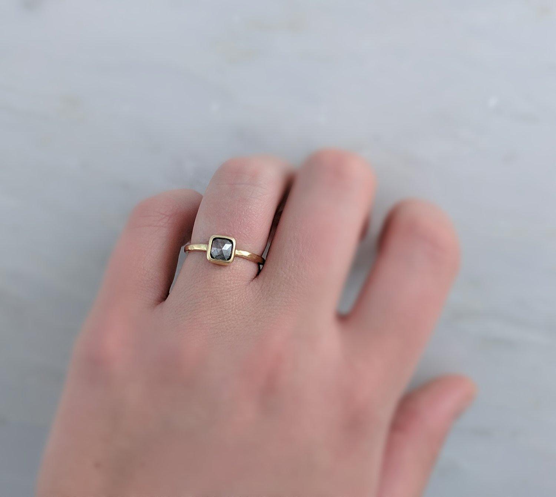 Translucent Grey Rose Cut Diamond Ring in 14K Yellow Gold — D O O Z I E