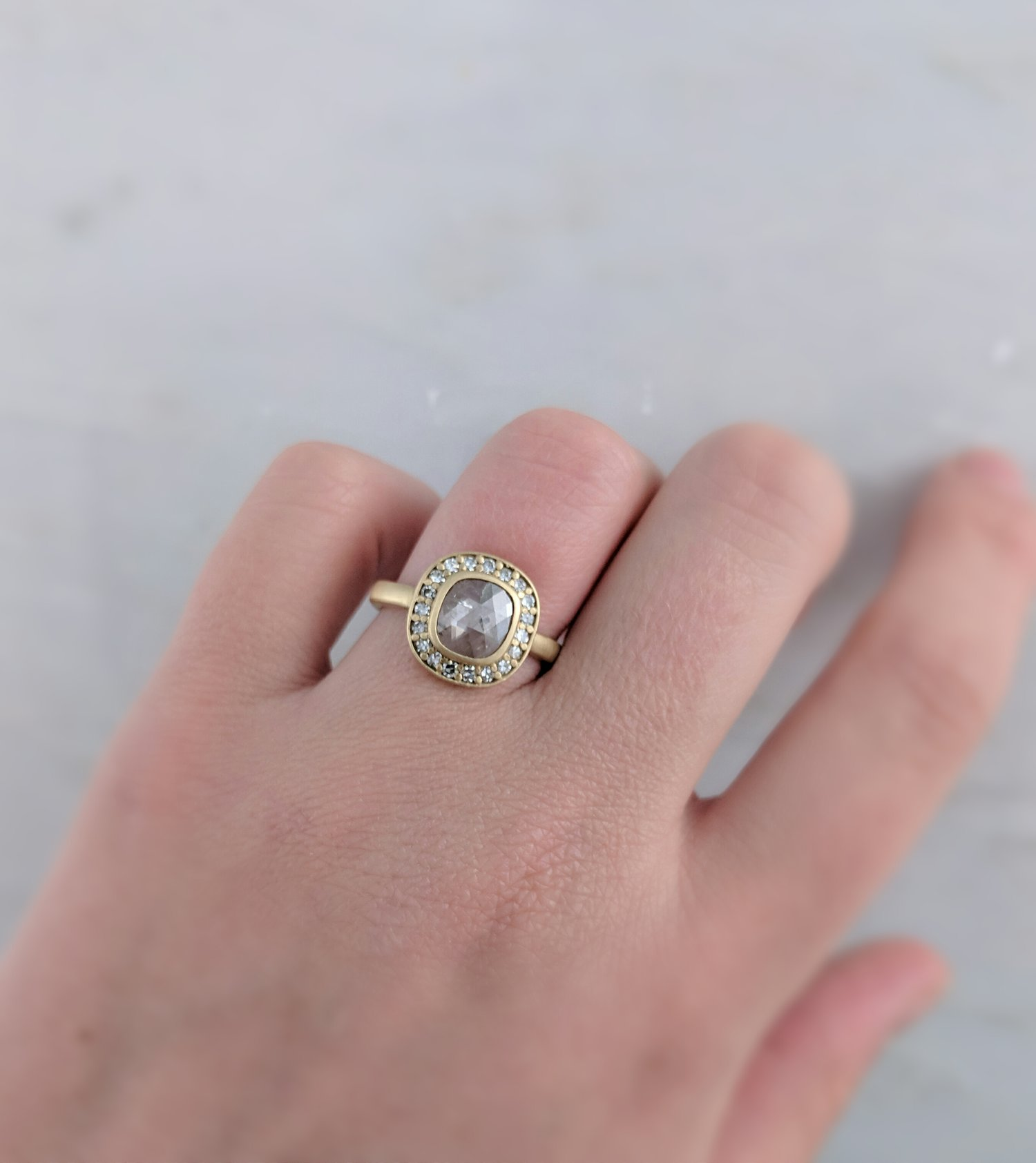 Translucent Rose Cut Diamond Halo Ring in 14K Yellow Gold — D O O Z I E