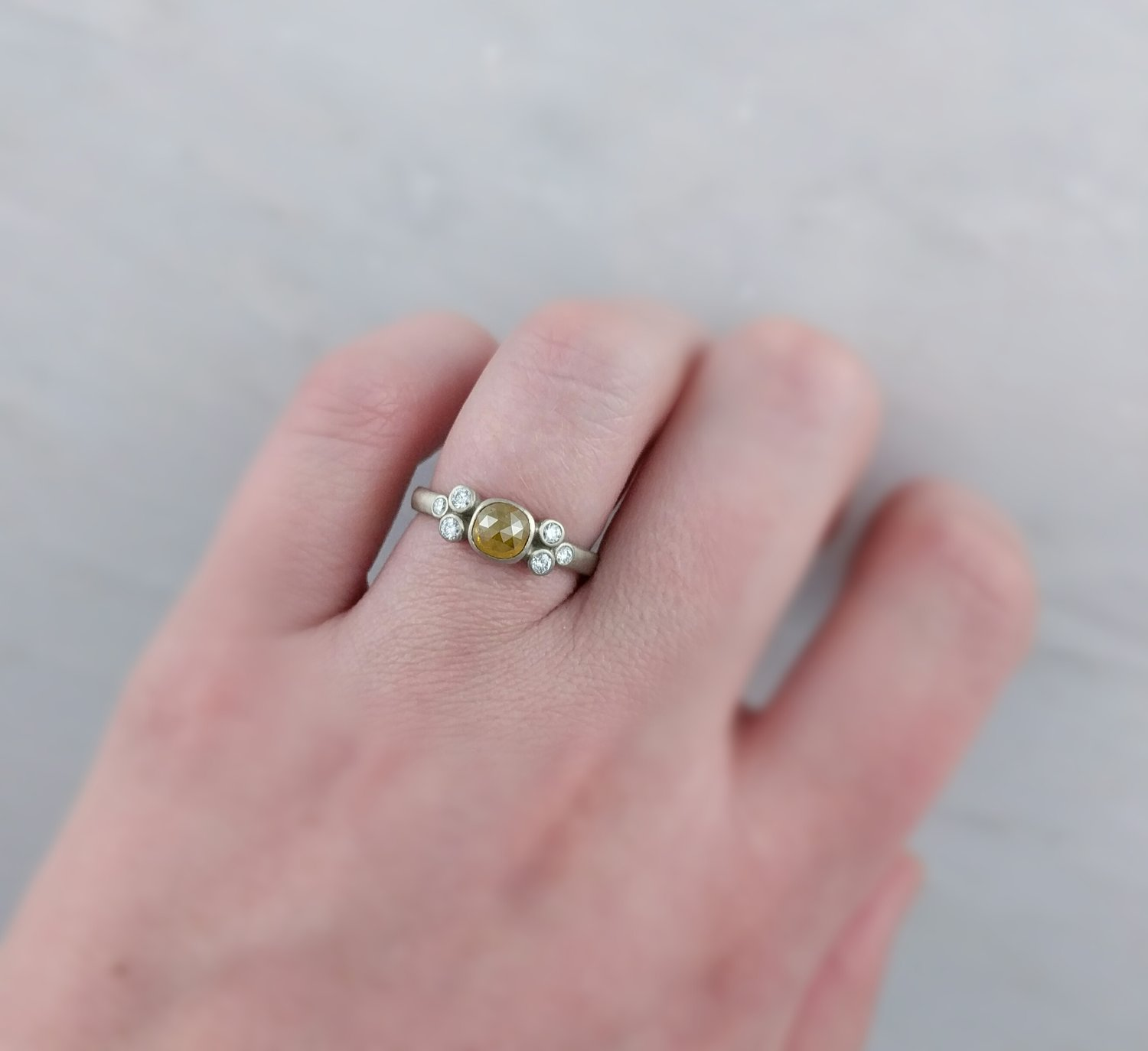 Golden Yellow Diamond Cluster Ring in 14K White Gold — D O O Z I E