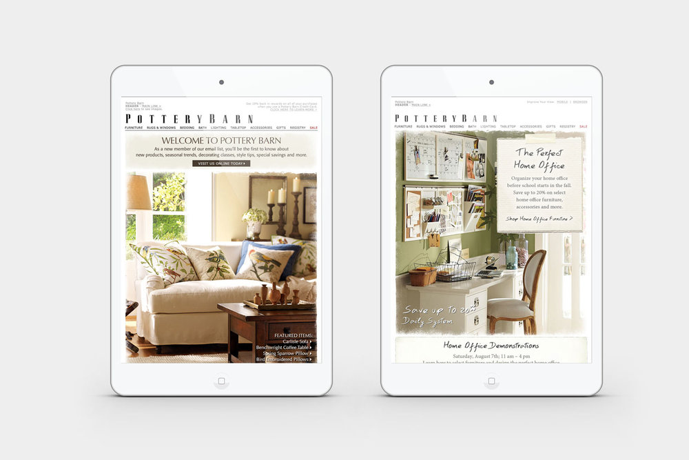 Online and Email Marketing Design for Pottery Barn