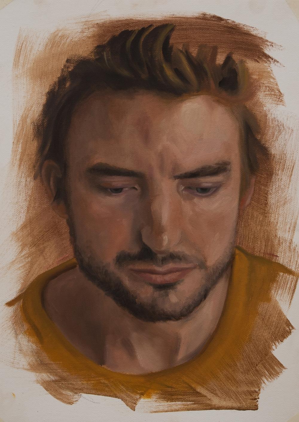 Geschilderd Portret - Maarten - Olie op canvaspapier