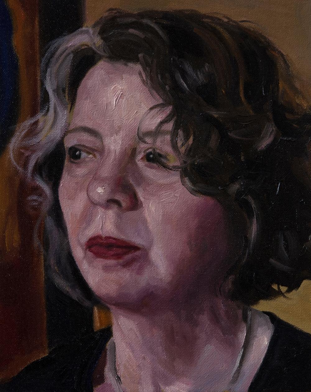 Geschilderd portret - Carine - Olie op canvasboard